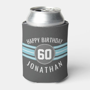 Happy Birthday Sports Jersey Stripes Name and Age Can Cooler