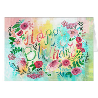 Happy Birthday Spring Flowers | Greeting Card