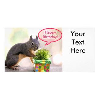 Happy Birthday Squirrel Customized Photo Card