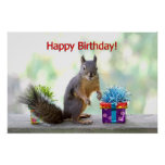 Happy Birthday Squirrel Posters
