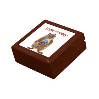 Happy Birthday Squirrel with Present Gift Box