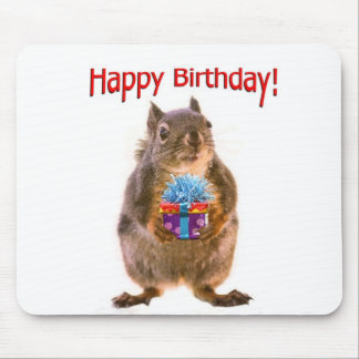 Happy Birthday Squirrel with Present Mousepad