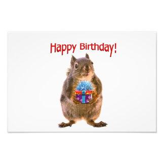 Happy Birthday Squirrel with Present Photo Print