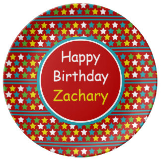 Happy Birthday Stars and Stripes Personalized Porcelain Plates