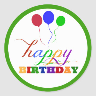 Happy Birthday Sticker Green Colorful Balloons