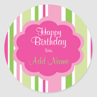 Happy Birthday Sticker  Pink and Green