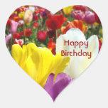 Happy Birthday stickers heart shape Tulip Flowers