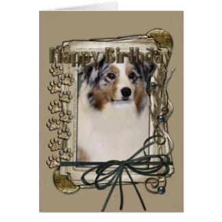 Happy Birthday - Stone Paws - Australian Shepherd Card
