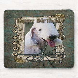 Happy Birthday - Stone Paws - Bedlington Terrier Mousepad
