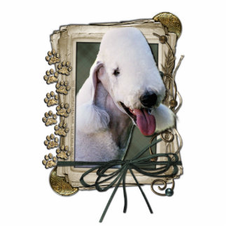 Happy Birthday - Stone Paws - Bedlington Terrier Standing Photo Sculpture