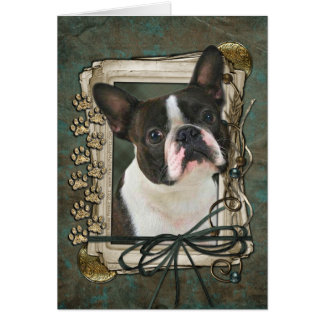 Happy Birthday - Stone Paws - Boston Terrier Card