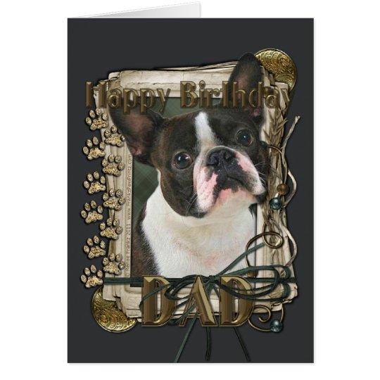 Happy Birthday - Stone Paws - Boston Terrier - Dad Card