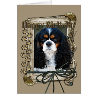 Happy Birthday - Stone Paws - Cavalier Greeting Card