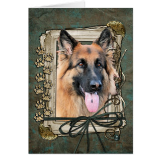 Happy Birthday - Stone Paws German Shepherd Chance Card