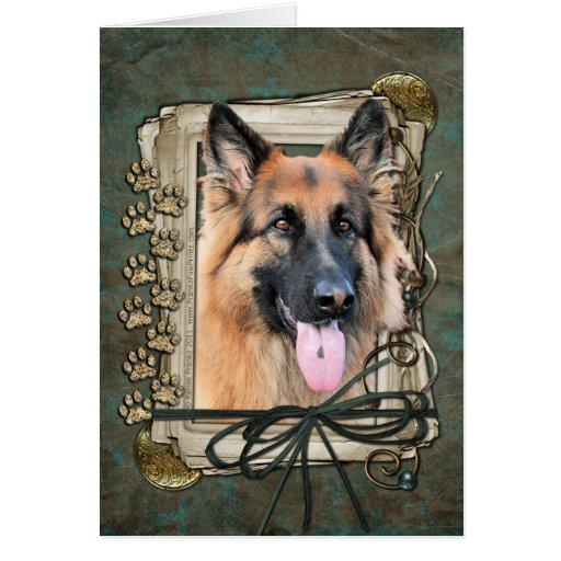 Happy Birthday - Stone Paws German Shepherd Chance Greeting Cards