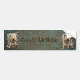 Happy Birthday - Stone Paws - GoldenDoodle - Dad Bumper Sticker