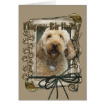 Happy Birthday - Stone Paws - GoldenDoodle Greeting Card