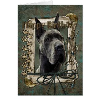 Happy Birthday - Stone Paws - Great Dane - Grey Card