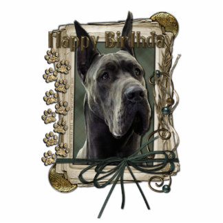 Happy Birthday - Stone Paws - Great Dane - Grey Cut Outs