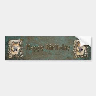 Happy Birthday - Stone Paws - Husky - Copper - Dad Bumper Sticker