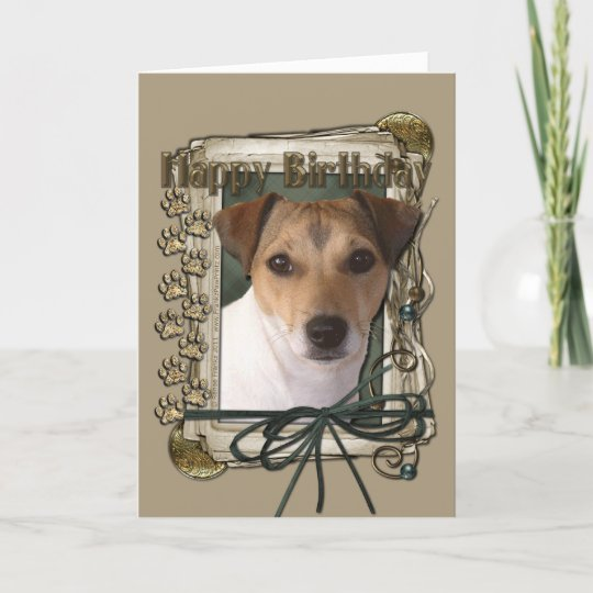 Happy Birthday Stone Paws Jack Russell Card Zazzle