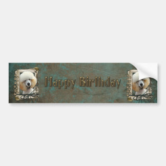 Happy Birthday - Stone Paws - Poodle - Apricot Bumper Sticker