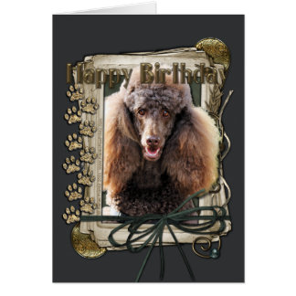 Happy Birthday - Stone Paws - Poodle - Chocolate Card