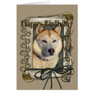 Happy Birthday - Stone Paws -Siberian Husky Copper Card