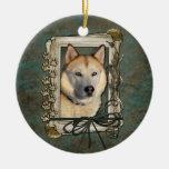 Happy Birthday - Stone Paws -Siberian Husky Copper Round Ceramic Decoration