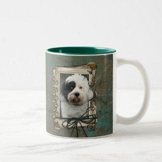 Happy Birthday - Stone Paws - Tibetan Terrier Two-Tone Coffee Mug