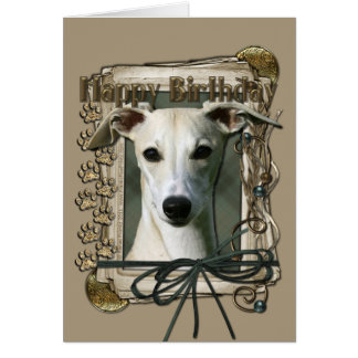 Happy Birthday - Stone Paws - Whippet Greeting Card