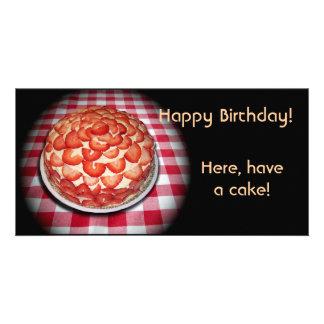 Happy Birthday Strawberry Cake Custom Photo Card