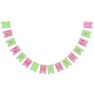 Happy Birthday Stripes Pink/Green Bunting Flags