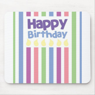 Happy Birthday stripey card Mouse Mat