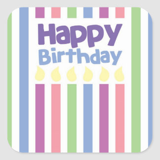 Happy Birthday stripey card Square Sticker