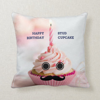 Happy Birthday Stud Cupcake Throw Pillow