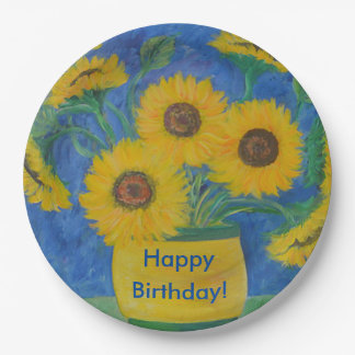 Happy Birthday Stunning Sunflower Paper Plate