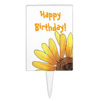 Happy Birthday Sunflower Cake Pick