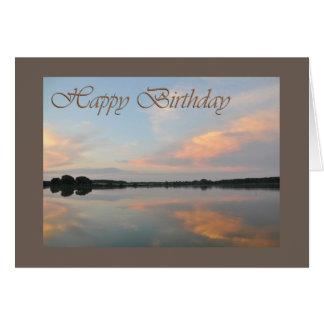 Happy birthday sunrise at the lake greeting card