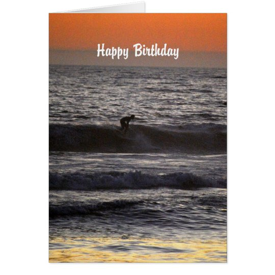 Happy Birthday Surfer at Sunset Card