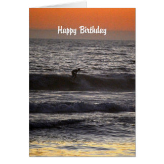 Happy Birthday Surfer at Sunset Greeting Card