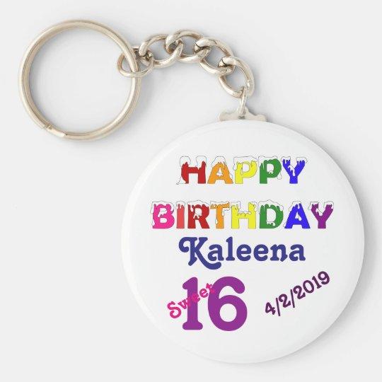 Happy Birthday Sweet 16 Key Ring