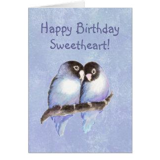 Happy Birthday Sweetheart Blue Lovebirds Card