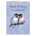Happy Birthday Sweetheart Blue Lovebirds Cards