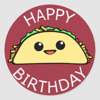 Happy Birthday Taco Classic Round Sticker
