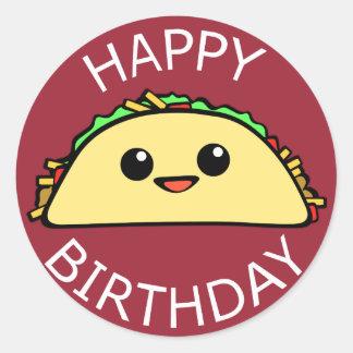 Happy Birthday Taco Round Sticker