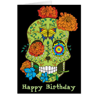 Happy Birthday Tattoo Sugar Skull Rose In Mouth Card