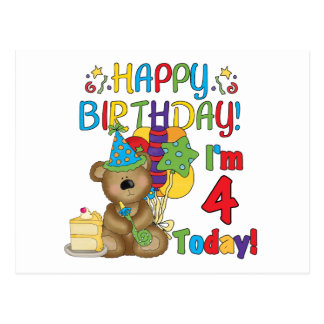 Happy Birthday Teddy Bear 4th T-shirts and Gifts Postcard