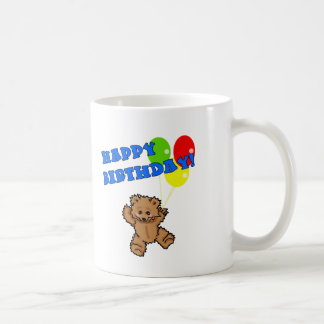 Happy Birthday Teddy Bear with Balloons Basic White Mug