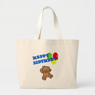 Happy Birthday Teddy Bear with Balloons Jumbo Tote Bag